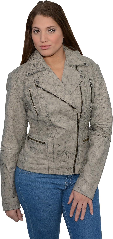 Milwaukee Leather Women's Distressed Look Asymmetrical Moto Jacket (Black Beige, 2XLarge), 1 Pack