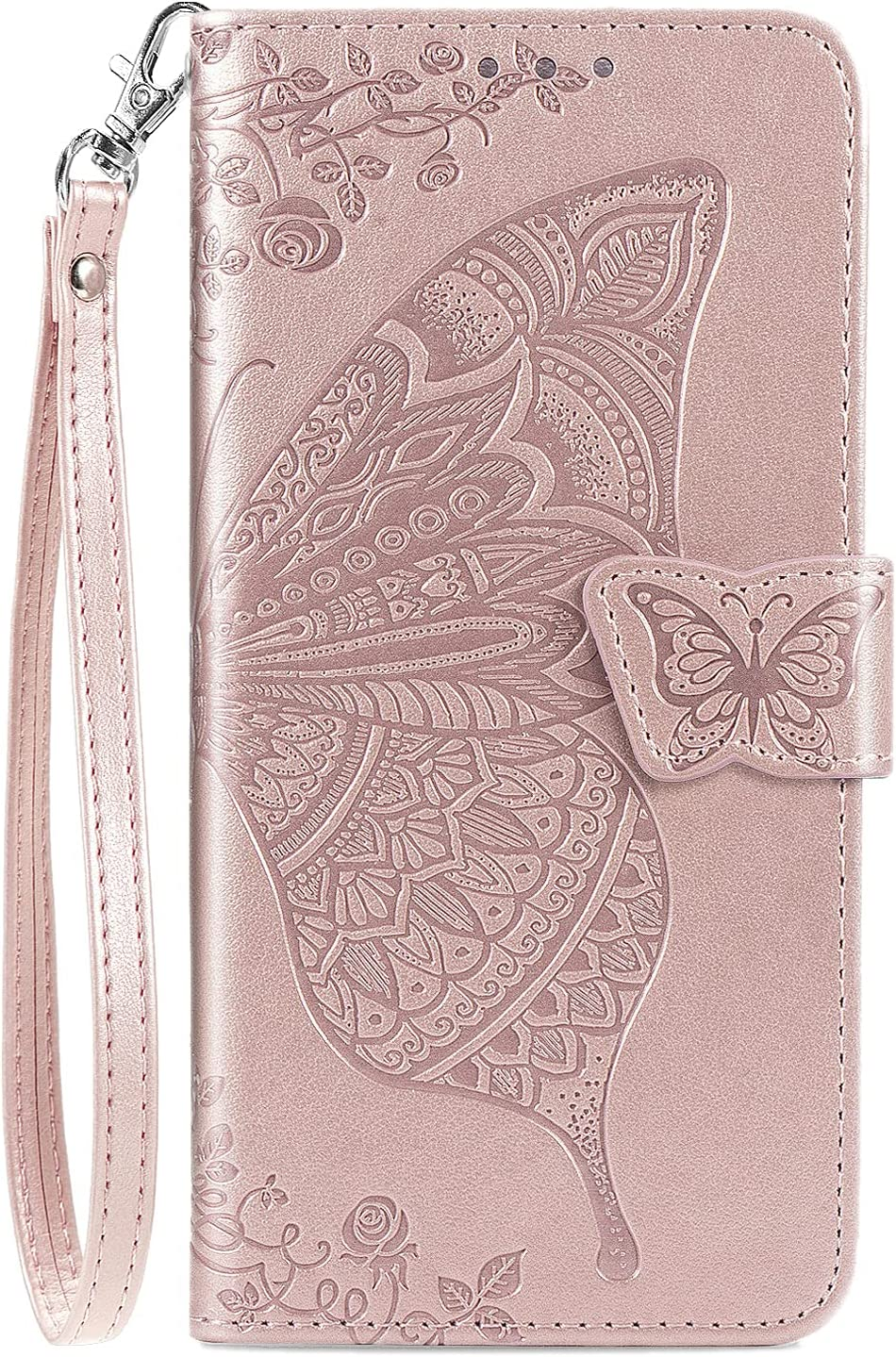 DiGPlus Galaxy S21 5G Wallet Case, [Butterfly & Flower Embossed] PU Leather Wallet Case Flip Protective Phone Cover with Card Slots and Kickstand for Samsung Galaxy S21 6.2-Inch (Rose Gold)