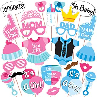 Wobbox Baby Shower Photo Booth Party Props DIY Kit, Pink & Blue Colour, Baby Shower Decoration Item 25 Pcs