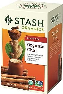 Stash Tea Organic Chai Black Tea Blend of Organic Black & Green Teas 18 Count Box of Tea Bags in Foil (Pack of 6)