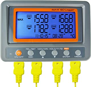 GAIN EXPRESS AZ Instruments 4 Channel K Type Thermometer SD Card Data Logger Thermocouple Temperature + 2 Bead Type K-Thermocouple Probe
