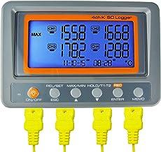 Termómetro DE 4 Canales Tipo K Con Tarjeta SD Y Registrador DE Datos Temperatura Del Termopar + Sonda DE 2 Microesferas Tipo K-Termopar