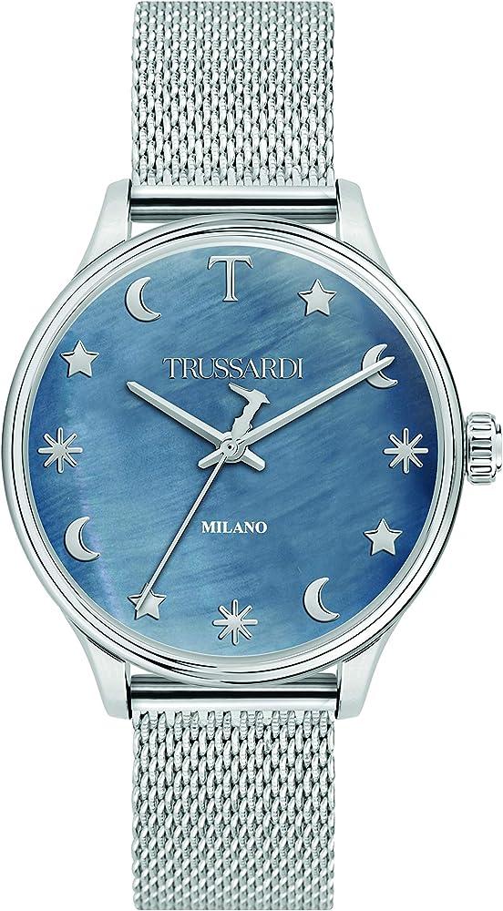 Trussardi ,orologio analogico al quarzo per donna,  in acciaio inossidabile, collezione t-complicity R2453130504