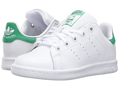adidas Originals Kids Stan Smith (Little Kid) (Footwear White/Footwear White/Green) Kids Shoes