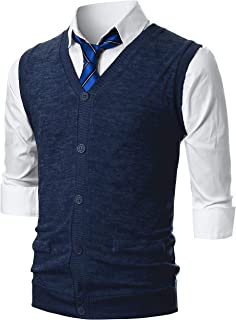 Mens Slim Fit Casual V-Neck Lightweight Knitted Button-Up Vest with Fake Pokcets