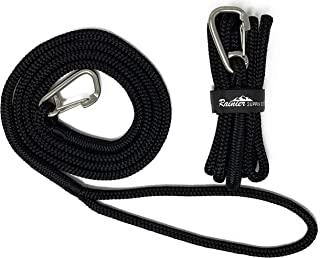 """Rainier Supply Co PWC Dock Lines - 2 Pack 7' x 3/8"""" Premium Double Braided Nylon PWC Dock Lines with 12 Eyelet – Jet Ski,  PWC & Small Boat Accessories – Black"""