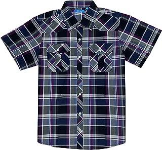 Boy's Casual Short Sleeve Western Pearl Snap Button Plaid Shirt