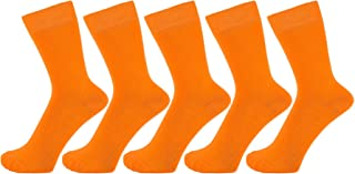 ZAKIRA Finest Combed Cotton Dress Socks in Plain Vivid Colours for Men, Women - Pack of 5