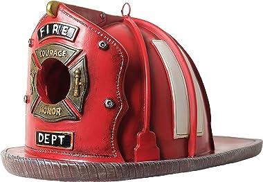 BELLA HAUS DESIGN Firefighter Bird House Vintage-Style Firefighter Outdoor Decor- Red Fireman Helmet- Fire Hat Birdhouse