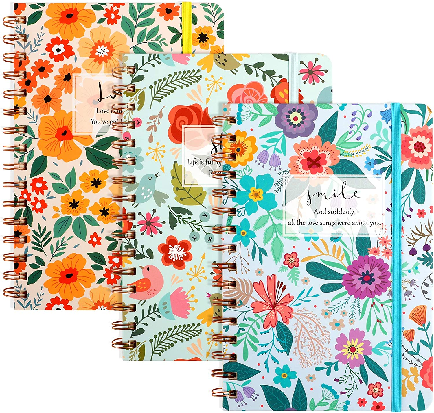 LABUK 3 Pack Super sale Ruled Spiral Notebook Sheets Bombing free shipping 5.5x8.3 Inch 80 Flower