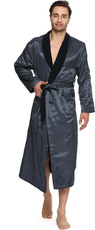 S-Forest Men's Polyester Satin Polar Fleece Lining Bathrobe Robe