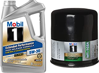 Mobil 1 Extended Performance High Mileage Formula Motor Oil 5W-30, 5-Quart, Single Bundle M1-103A Extended Performance Oil Filter