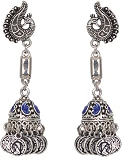 Sansar India Oxidized Stud Long Jhumka Indian Earrings Jewelry for Girls and Women 1210a