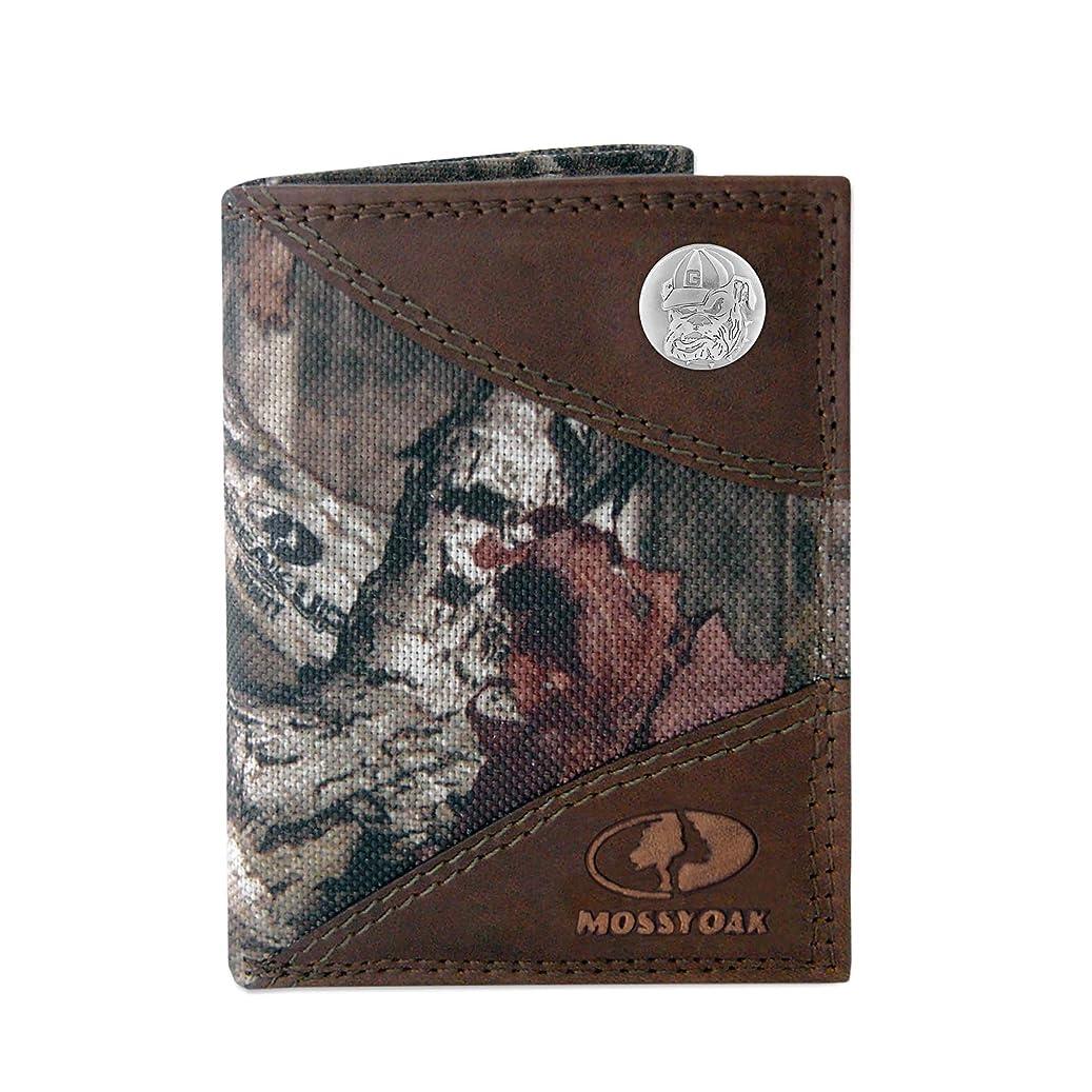 石の天気電気NCAAメンズzep-pro Mossy Oakナイロンとレザー三つ折りコンチョ財布