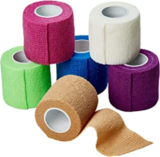 MEDca Self Adherent Cohesive Wrap Bandages 2 Inches X 5 Yards 6 Count, FDA Approved (Rainbow Color)