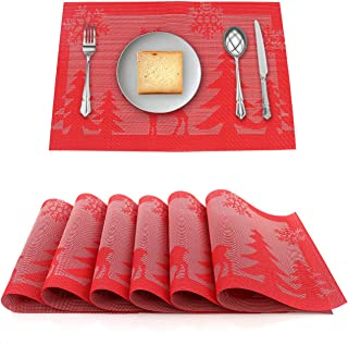 ZM Placemats Woven PVC Heat-Resistant Vinyl Washable Table Mats for Dining Kitchen Table Set of 6