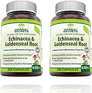 Herbal Secrets Echinacea & Goldenseal Root with Echinacea Purpurea, Goldenseal, Burdock Root & Cayenne Pepper - Supports Healthy Immune Function (Pack of 2-250 Capsule Bottles)