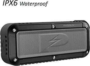 Wireless Bluetooth Speaker, 10 Hour Playtime [PASBUY P8X] Portable IPX6 Water Resistant Shower Strong Bass FM Radio Dual Speakers with Microphone for Home Outdoors Travel