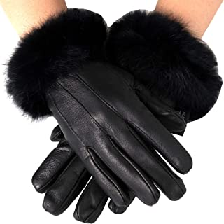 Best Womens Leather Dressy Gloves Rabbit Fur Trim Cuff Thermal Lining Review