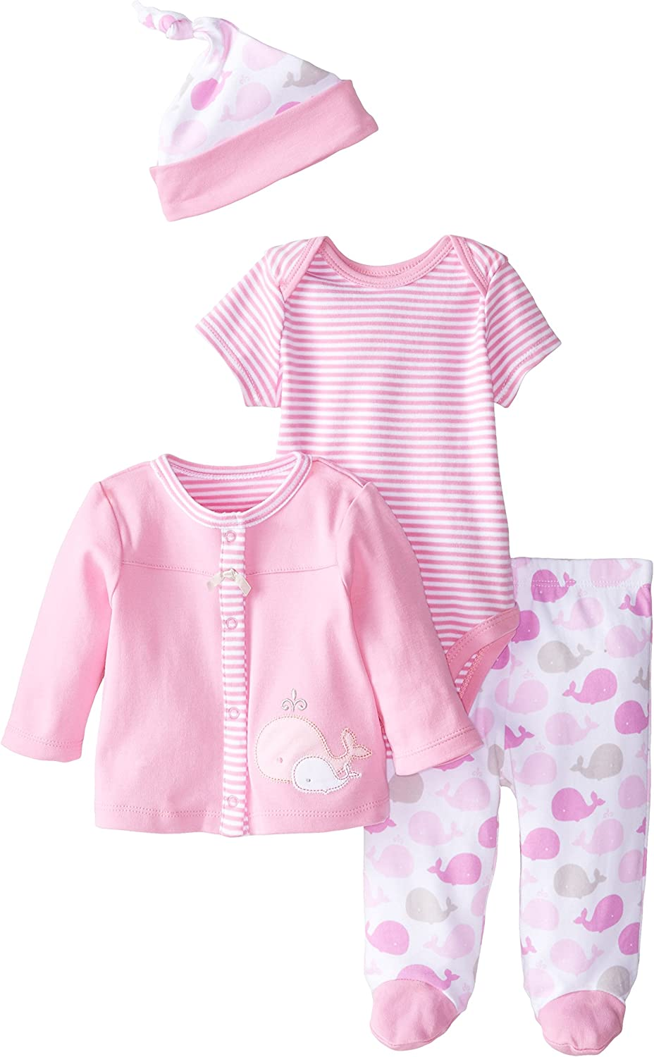 Offspring - Baby Apparel Girls' Baby-Newborn Whales 3 Piece Tmh Set and Hat