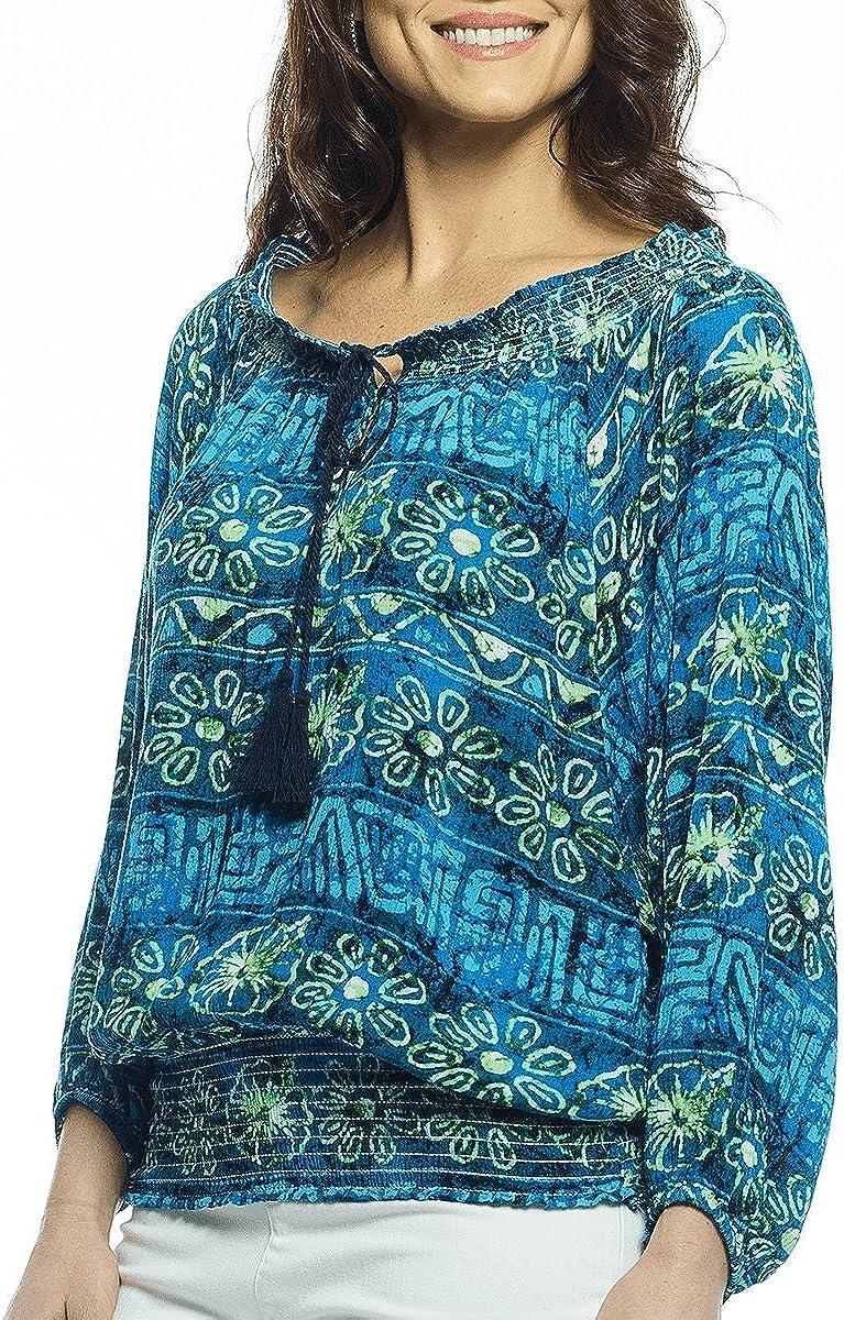 Margaritaville - Floral Batik, Front Button Placket with Tassels Smocked Blouse