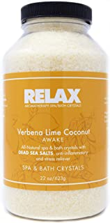 Verbena Lime Coconut Aromatherapy Bath Crystals -19 Oz– All Natural Sea Salt Aroma Therapy for Jacuzzi, Whirlpool, Spa, Bath