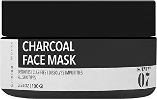 Clinical Works Charcoal Face Mask Scent No. 07, Peeling Mask, Removes Dirt, Debris, Oils, Impurities and Blackheads, Fights Acne, Detoxifies, Unclogs and Purifies Skin, For all Skin Types, 3.53 Oz