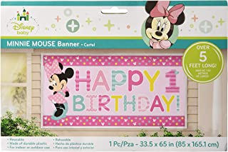 amscan Disney Minnie's Fun to be One Horizontal Giant Sign Banner, Birthday