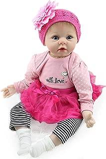 Nicery Reborn Baby Doll Soft Simulation Silicone Vinyl 22inch 55cm Magnetic Mouth Lifelike Boy Girl Toy Pink Flower Headdress