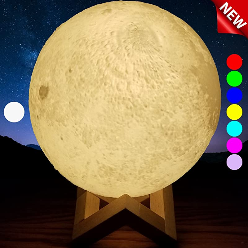 SensoryMoon 3D Printing Moon Lamp Night Light Enchanting 7 Color Changing Up LED Lunar Moonlight Globe Ball With Wood Stand Base USB AC Plug Is 5 9 In Large For Kids Room Baby Nursery Bedroom Decor