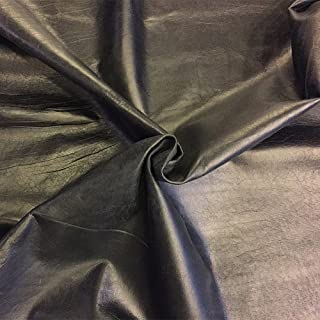 Black Leather Hide - Spanish Full Skin – Rustic Finish - 6 sq ft - 2 oz avg Thickness – Soft Upholstery Fabric – Genuine Thin Lambskin - DIY Supply – Craft Projects – Leather Treasure Shop