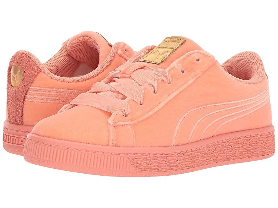 Puma Kids Basket Classic Velour (Little Kid/Big Kid) (Desert Flower/Metallic Gold) Girls Shoes