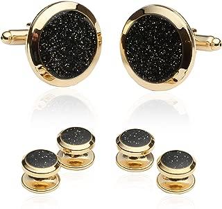 Mens Black Diamond Dust Gold Cufflinks and Studs Cuff Links with Presentation Box