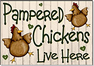 SLobyy Pampered Chickens Live Here Cream Funny Outdoor Sign Plaque for Chicken Hen Coop House Run Garden Yard Gift Wooden Plaque 11
