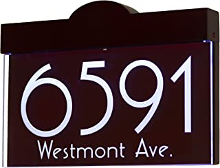 12V DC Auto On/Off Custom Illuminated House Numbers Address Sign Address Plaque Lighted with LED - Laser Engraved On Acrylic Sign with Wood Frame