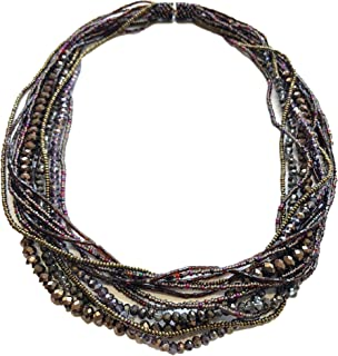 Mayan Arts Multi Strand Beaded Necklace, Multi Color Purple and Gray Tones, Sparkly Beads, Women Necklaces, Jewelry, Magnetic Clasps, 19.5 Inches Long