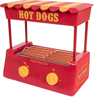 Nostalgia HDR8RY Hot Dog Warmer 8 Regular Sized, 4 Foot Long and 6 Bun Capacity,..