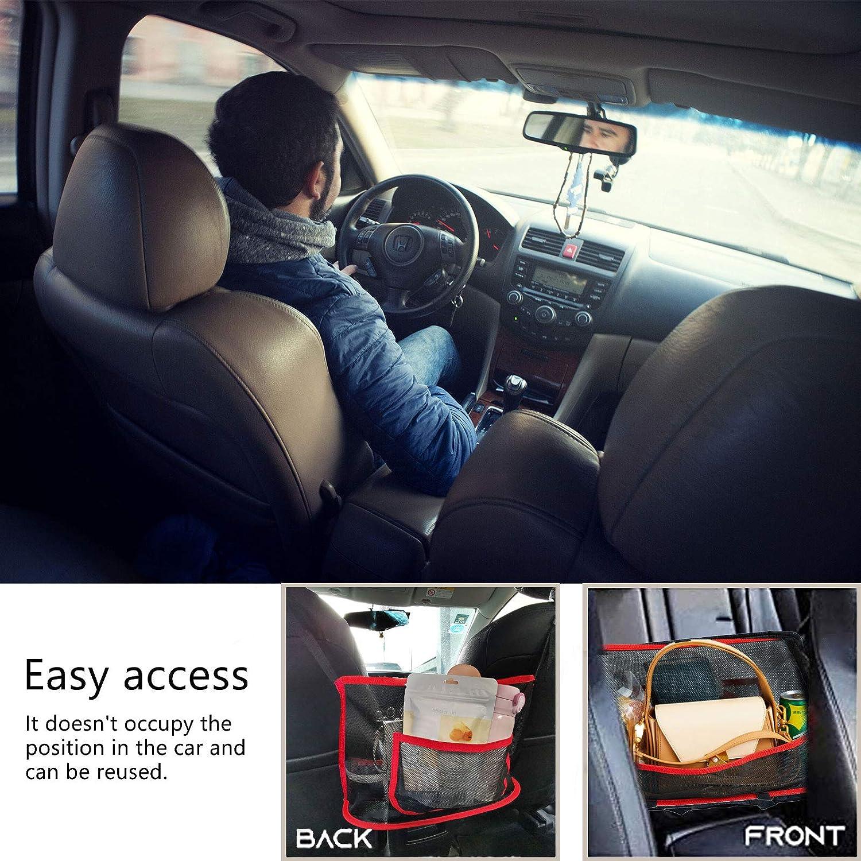 Car Mesh Organizer Large Capacity Bag for Purse Storage Phone Documents Pocket,Barrier of Backseat Pet Kids,Cargo Tissue Holder Car Net Pocket Handbag Holder Red