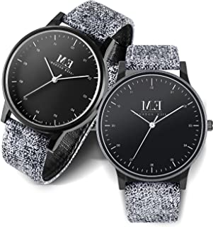 Menton Ezil Classic His and Hers Couples Matching Watch Leather Band Quartz Wrist Watches for Women and Men - Set of 2 (Grey)
