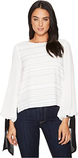 Tie Cuff Bubble Sleeve Sheer Jacquard Stripe Blouse