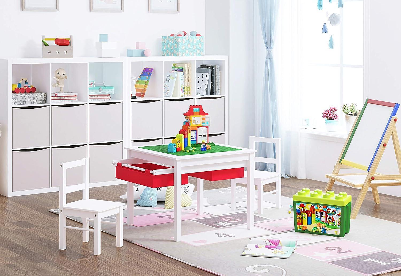 UTEX-2 in 1 Multifunktion Kindersitzgruppe,1 Kindertisch Und 2 Stühle Sitzgruppe Für Kinder,Aus Holz, Kindermöbel Mit Stauraum,Weiß+Rot Weiß mit Roter Schublade