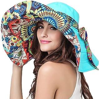 قبعة الشاطئ النسائية المرنة القابلة للعكس قبعة شمس كبيرة حافة قبعة فيدورا عامل الحماية من أشعة الشمس UPF 50+ أزرق