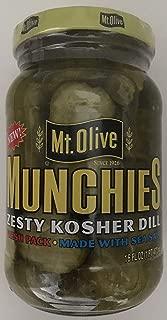 Mt. Olive Munchies Zesty Kosher Dill Pickles Made with Sea Salt, Vegan, Gluten Free, 16 oz.