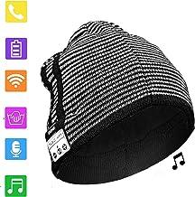 BGJOY Music Hat Wireless Beanie Smart Hat Built-in Stereo Speaker Mic Wireless Headphones Beanie Sync Call Music for All Bluetooth Smart Phones Gift Men Women Boys Girls (White with Black)