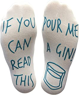BRING ME SOCKS 'If You Can Read This Pour Me A Gin' Funny Socks - Perfect Joke Novelty Gift For Men & Women, White Blue, 6-12