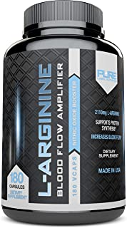 Pure Label Nutrition - L-Arginine Supplement, 2110 mg Superior Nitric Oxide Booster for Increased Blood Flow, Vascularity ...