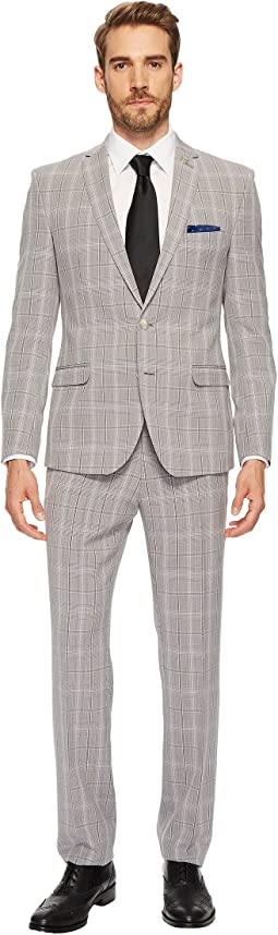 Black & White Slim Fit Plaid Suit