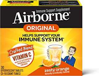 Vitamin C 1000mg (per serving) - Airborne Zesty Orange Effervescent Tablets (30 count in a box), Gluten-Free Immune Support Supplement, With Vitamins A C E, ZINC, Selenium, Echinacea & Ginger