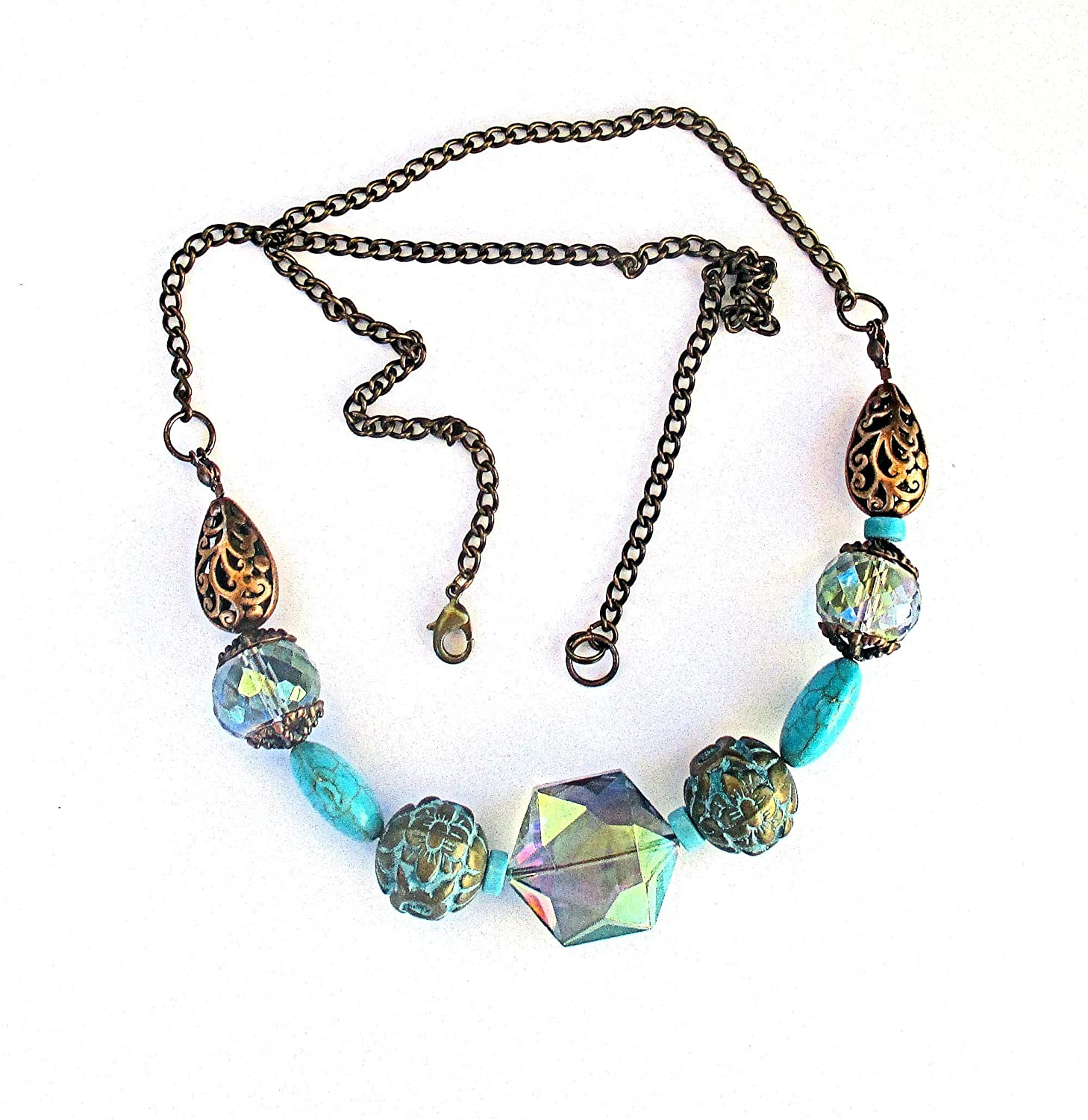 Big discount Latest item Bead Turquoise and Copper Chain Necklace