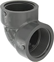 GF Piping Systems PVC Pipe Fitting, 90 Degree Elbow, Schedule 80, Gray, 1-1/2
